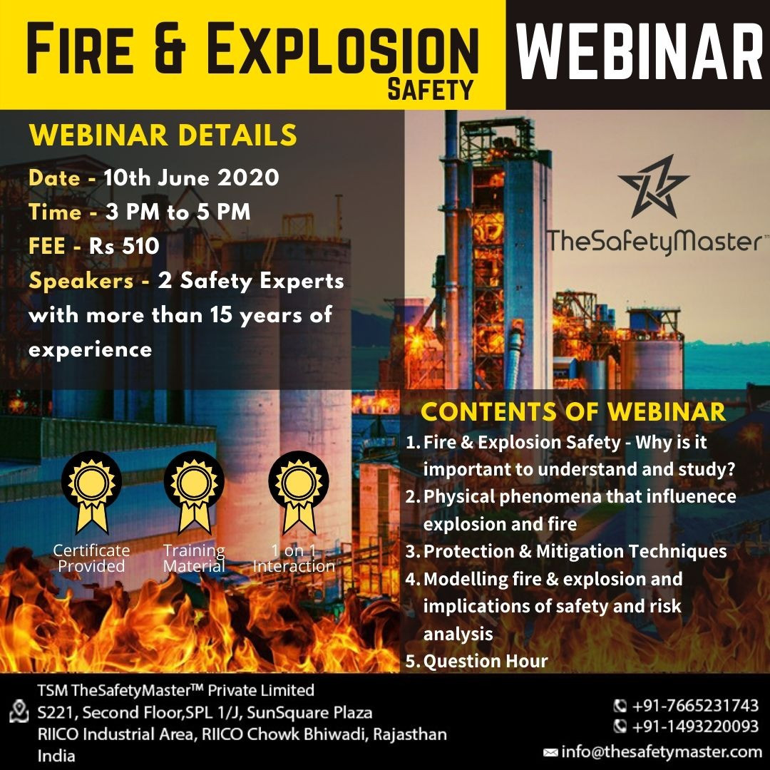 Fire & Explosion Safety Webinar 10th June, 2020
