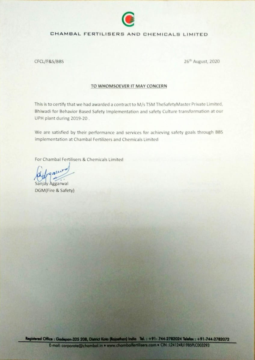 Cusotmer Certificate Chambal-BBS